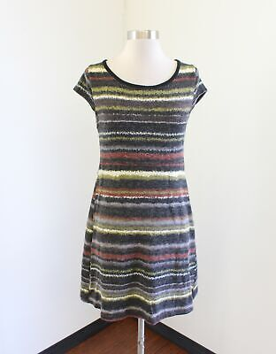 ef908c34728 Aryeh Black Gray Green Abstract Striped Knit Tunic Sweater Dress Size S Boho