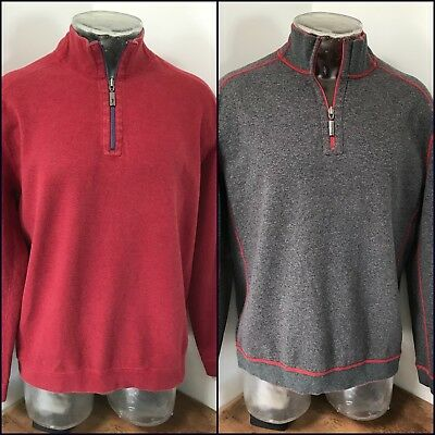 Mens TOMMY BAHAMA Large Half Zip Casual Gray Red Reversible Pullover Sweater c5b40721e
