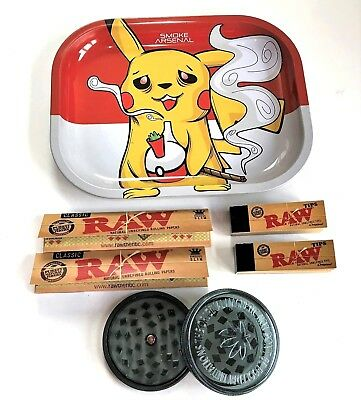 Smokers Metal Rolling Tray PIKACHU POKEMON Grinder RAW King Size Slim Paper Tips