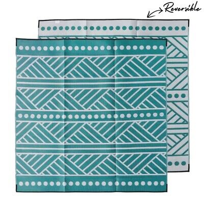 Plastic Outdoor Rug   Market Stall Mat   3m Square, Green Grey