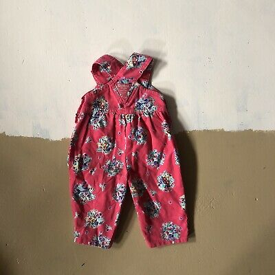 Vintage OshKosh Vestbak Overalls Pink Floral Corduroy Bow Baby Girl made in USA