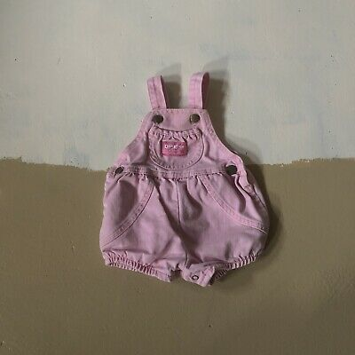 Vintage Oshkosh Bubble Romper Vestbak Pink Shortalls USA Made Baby Girl 3/6 Rare