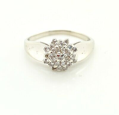 Other Fine Jewelry Fine Rings 10kt White Gold Diamond Cluster Fancy Band Ring Size-7 2.75atw 015387401
