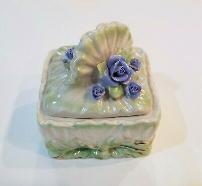 Hand Painted Ceramic Dresser Box with Applied Blue Roses; B1845