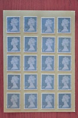 100 Silver Unfranked 1st First Class Security Stamps, Gummed - With Minor Faults