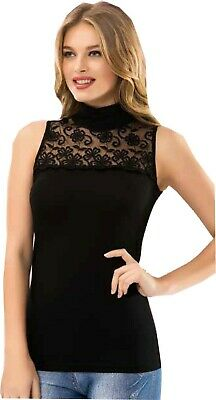 Ladies Sleeveless Stretch Vests High Neck top Tank Vest cami embrodery lace 6266