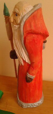 Hand Carved Wooden  Father Christmas Figure Canadian Award Winning carver 8""