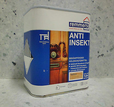 Remmers Anti-insectes + 0,25 L Incolore Protection Du Bois Insektenbefall Meuble