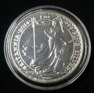 2014 2 Pounds UK Britannia 1 oz .999 Fine Silver Coin Free Shipping!