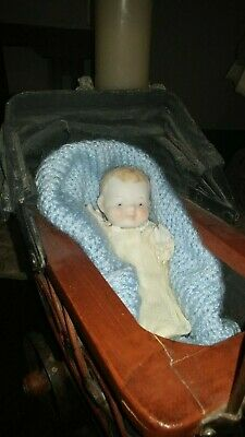 "ANTIQUE/VINTAGE,( 5"" BABY DOLL) plus  BUGGY!.. GREAT display with Antique dolls"