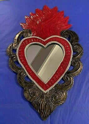 Huge Mexican Hand Painted Red Punched Tin Mirror Sacred Heart Milagro 18.5x11.5