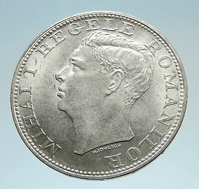 1944 ROMANIA Michael I Romanian Lady & Bird Antique Genuine Silver Coin i75217