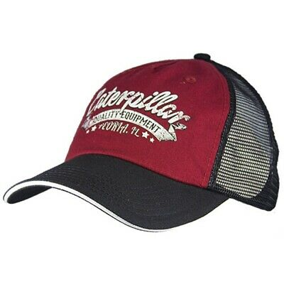 320b0269 Red Caterpillar CAT Equipment Trucker Twill Mesh Diesel Cap Hat Vintage Cap