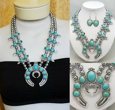 Squash Blossom Necklace Faux Turquoise Navojo Zuni Western Native Large Chunky