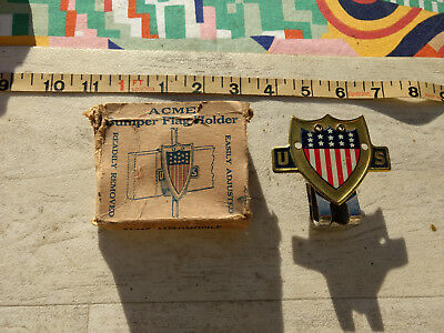 NOS MIB vtg 30s Acme flag holder, beautiful condition 35 36 37 38 39 40 41 Chevy