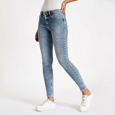 ex-River Island Light blue Molly mid rise jeggings (7903)