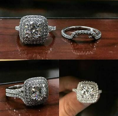 Certified 3Ct Round Cut Diamond Double Halo Engagement Ring Set 14k White Gold