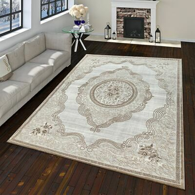 Modern Oriental Rug Vintage Look With Flowers and Ornaments In Grey Gold