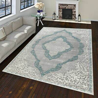 Modern Oriental Rug Vintage Look With Classic Ornaments In Grey Turquoise
