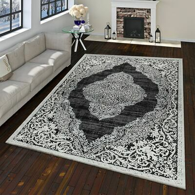 Modern Oriental Rug Vintage Look With Classic Ornaments Anthracite Grey