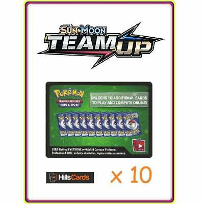10x Pokemon Team Up Code Cards ~ 10 Online Booster Codes ~ TCGO Codes Sun & Moon