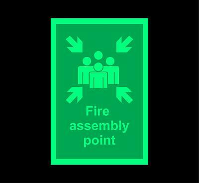 Fire assembly point Safety sign - Photoluminescent