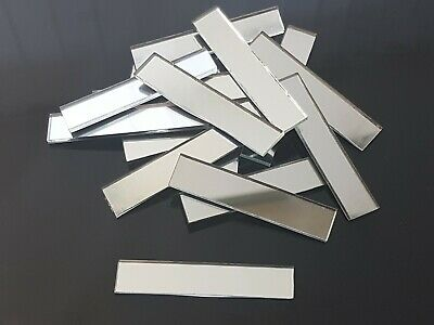 25 pieces, Silver Glass Mirror Tile, Approx 1 x 5 cm, 2 mm Thick Art&Craft