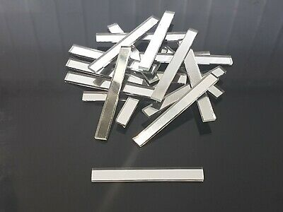 20 pieces, Silver Rectangle Glass Mirror Tile, Approx 0.5 x 5 cm, 2 mm Thick