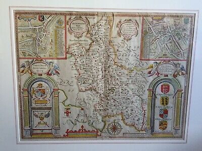 1611 Antique Rare Framed Map; John Speed: Buckinghamshire
