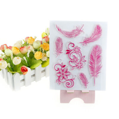 Beautiful Colorful Feather Shape Rubber Stamp Scrapbookings Photo Albums DecorGS