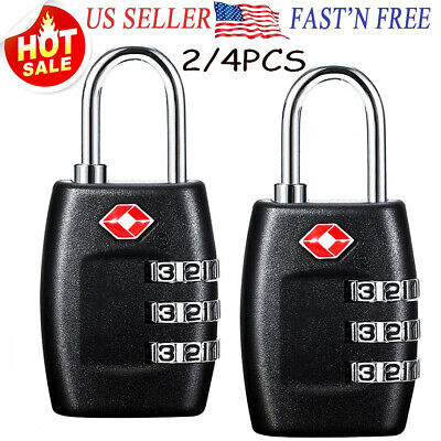 2/4 PCS Set TSA Approve Travel Suitcase Luggage Lock Padlock 3 Digit Combination