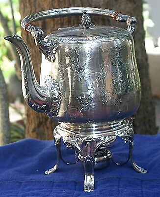 Antique Hot Water Kettle On Stand With Burner Sterling .925 Silver 50 Troy Oz