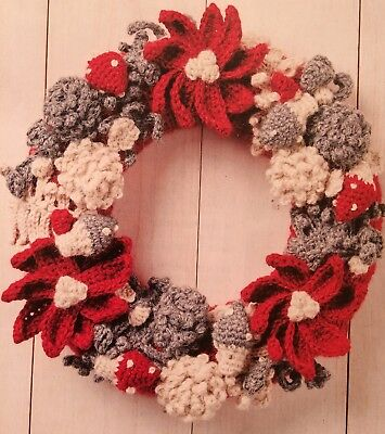 Red And White Christmas Wreath.C2 Red White Christmas Wreath Crochet Pattern