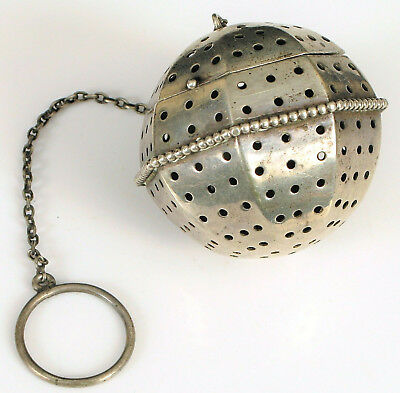 Antique Simon Bros Sterling Silver Tea Ball Infuser Strainer Coffee Very Fine
