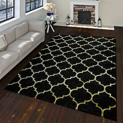Oriental Rug Modern Moroccan Pattern With 3D Effect Used Look Black