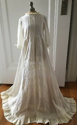 Antique Edwardian Embroidered Baptism Christening Dress Gown Lace W/Cape