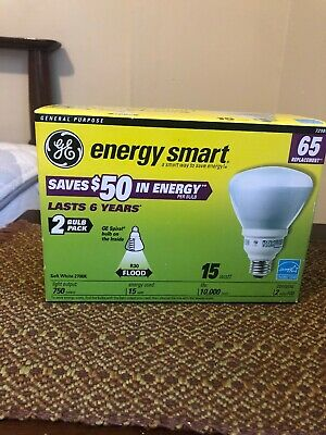 GE Energy Smart Lot Of 2 65W Replacement Flood Light R30 CFL Bulb NIB