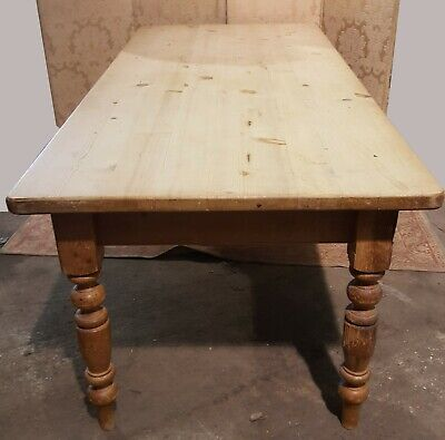 Large Vintage Pine Table Stripped Pine Dining Kitchen Table 215 cm long