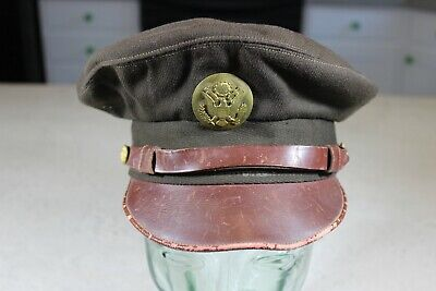 09df2c8052f US WW2 Army Air Corps AAC ENLISTED TRUE Crusher Visor Hat Cap 50 Mission 7  RARE