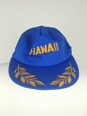 Vintage Hawaii Supercap Trucker Hat Cap Snapback Blue Mesh Back Gold Leaf 925b73bbe034