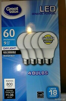 4 Pack Great Value LED Daylight 9 Watts 60 Watt equiv Light Bulbs 800 lum A19