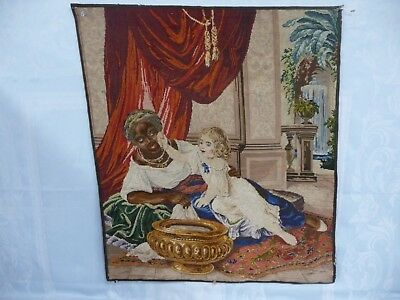 ANTIQUE TAPESTRY - NEEDLEPOINT PETIT POINT - BLACK AMERICANA - NANNY w/CHILD