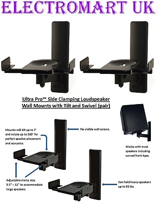 Speaker Loudspeaker Wall Mount Brackets Heavy Duty Black Pair