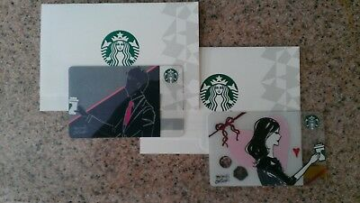 STARBUCKS Japan 2019 Valentine Day Two (2) Gift Card Set w/Two Sleeves US Seller