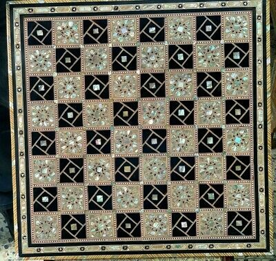 "Large Size Handmade Beech Wood Chess Board Inlaid Mother of Pearl (20.5"")"