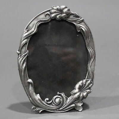 Vintage Unmarked Pewter Art Nouveau Style Free Standing Photo/ Picture Frame