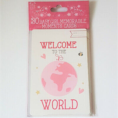 Baby Girl Milestones Memorable Moments Cards - Pack of 30 Baby Shower/New Baby