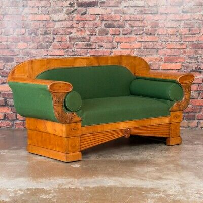 Carved Antique 19th Century Danish Birch Biedermeier Sofa