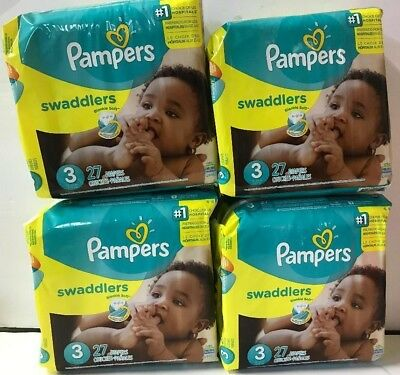 Case of 4 - Pampers Swaddlers Diapers Size 3 Jumbo Pack - 108 Total Diapers