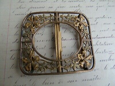 French antique brass ornately dress belt buckle c.1940 beautiful detailed